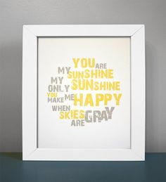 8x10 You Are My Sunshine print by GusAndLula on Etsy, $18.00