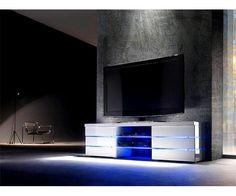 Meuble TV a Led blanc laque Logan Led, Decoration, Flat Screen, Relax, Info Tv, Check, Tv Unit Design, Tv Storage, Lineup