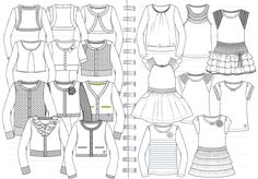 Flat sketches for Kids Girls Boutique Spring Collection.