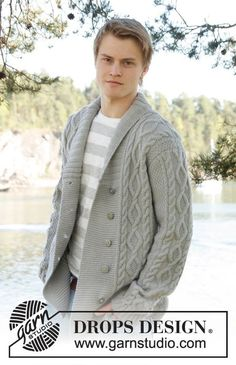 """Rambling Man / DROPS Extra 0-850 - Knitted DROPS men's jacket with cable pattern and shawl collar in """"Lima"""". Size: S - XXXL."""