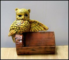 Vintage Owl figurine with mini shelf by BeatnikBilly on Etsy, $12.00