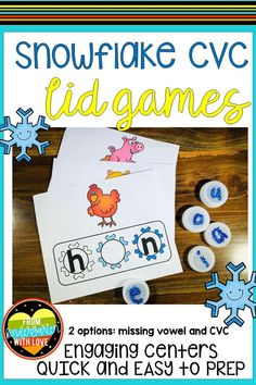 Kindergarten and 1st Grade students will love practicing CVC words with this simple printable phonics game! This snowflake themed activity is perfect to use as a literacy center during the winter months. Students will have fun using the colorful pictures to identify the missing vowel sounds in various words. This low prep, printable activity will be a hit with students! #fromkindergartenwithlove #phonicsactivities #literacycenters #kindergarten