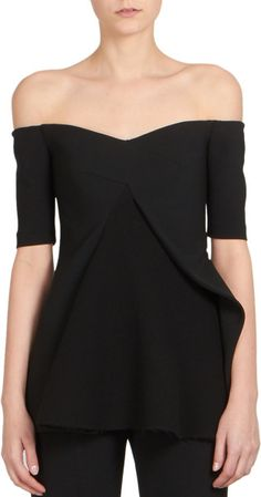 56c1d1661270b Stella mccartney Sabrina Peplum Off-the-shoulder Top in Black Ruffle Top
