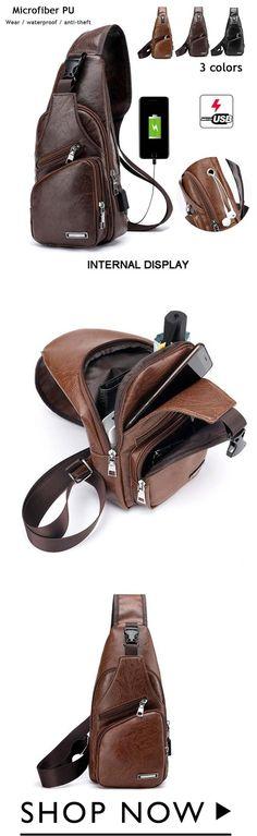 Men& Sling Shoulder Outdoor USB Port Casual Crossbody Bag - Fashion for Man - Mochila Retro, Usb, Men Abs, Luggage Backpack, Back Bag, Men Dress, Watches For Men, Cool Things To Buy, Crossbody Bag