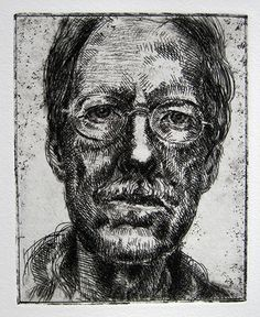 Self-Portrait, Second State, etching and drypoint on Rives BFK, 5x7 inches