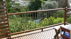 Stainless steel rod with dressed timber handrail Balcony Deck, Balcony Railing, Deck Railings, Roof Deck, Iron Railings, Timber Handrail, Timber Deck, Outside Handrails, Deck Design