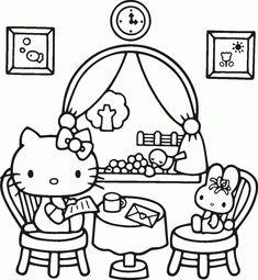 hello kitty coloring free printable