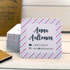 Make your cards unique by making them square. No extra price! Cute Business Cards, Your Cards, Place Cards, Place Card Holders, Make It Yourself, Unique, How To Make, Products, Gadget