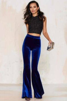Womens Velvet High Waist Stretch Slim Flare Bell Bottom Pants Fashion Trousers N Plus Size Vintage, Fashion Pants, Fashion Outfits, Womens Fashion, Fashion Trends, Fashion Tag, Fashion Shoes, Studio 54 Fashion, Bell Bottom Trousers