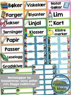 Packs with labels and desk strips for Norwegian learners. Included in this pack of designs: → Name tags → Math strips → Alphabet strips → Subjects → Items labels → Calendar → Weather Classroom Organisation, Classroom Setup, School Classroom, Classroom Labels, Future Classroom, Room Organization, First Day Of School, Pre School, Back To School