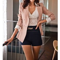 Lapel Collar Long Sleeves Color Block Sweet Style Polyester Women's Blazer