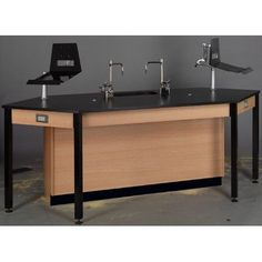 Stevens ID Systems Science Workstation Frame Finish: Natural Oak, Surface Type: Phenolic, Color: Fashion Grey