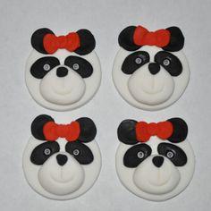 Girlie Panda Fondant Cupcake or Cookie by LadyCupcakesCorner, $17.95