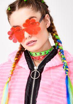 9ae374279a Animal Hair Neon Daisy Sunglasses   Dolls Kill Festival Wear, Festival  Fashion, High Fashion