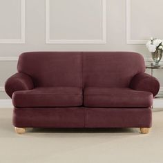 Sure Fit Ultimate Heavy Weight Stretch Suede 2-Cushion Loveseat Slipcover, Red
