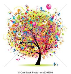 feliz, feriado, divertido, árbol, Globos - csp3398588