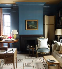 Furniture arrangement with desk.  3.28.14: Garrow Kedigian | New York Social Diary