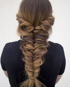 Fishtail Braids, Whether you are a fishtail braid newbie or looking for something a little more advanced, check out five of our favorite tutorials for nailing the ., Braids Hairstyles # long fishtail Braids # fishtail Braids for short hair Messy Fishtail Braids, Fishtail Braid Hairstyles, Box Braids Hairstyles, Pretty Hairstyles, Fishtail Braid Wedding, Prom Braid, Hair Styles Fishtail, Braids Long Hair, Mermaid Hairstyles