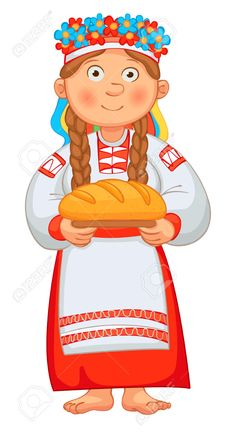 Ukrainian Girl Meets Honored Guests With Bread And Salt. Young.. Royalty Free Cliparts, Vectors, And Stock Illustration. Image 24754281.