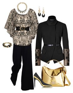 """""""Classic Black"""" by michigangirl84 ❤ liked on Polyvore featuring The Row, Jane Norman, Donna Karan, Frances Valentine, Balmain and Michael Kors"""