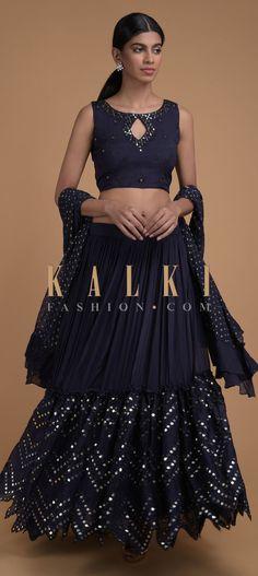Navy Blue Lehenga Choli With Mirror Abla Embroidery And Zigzag Cut Hem Online - Kalki Fashion Indian Clothes, Indian Outfits, Navy Blue Lehenga, Lehenga Choli, Mehendi, Traditional Dresses, Zig Zag, Indian Fashion, Ballet Skirt