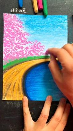 Art Drawings Sketches Simple, Oil Pastel Drawings, Oil Pastel Art, Pencil Art Drawings, Cool Drawings, Canvas Painting Tutorials, Art Painting Gallery, Nature Drawing, Learn Art