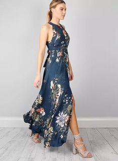 Halter Backless Floral Printed Maxi Dress | victoriaswing