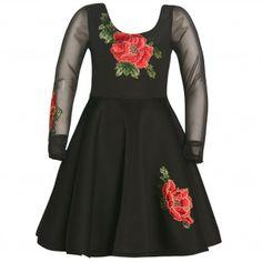 ba0d3cfe8026 Bonnie Jean Big Girls Flower Embroidery Sheer Long Sleeve Party Dress 7-16 Girls  Christmas