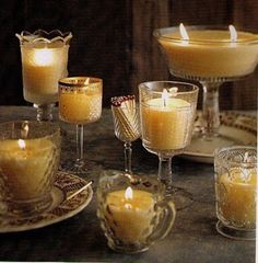 All of this can be bought for very little money from $$ stores, Goodwill etc. I make candles all the time