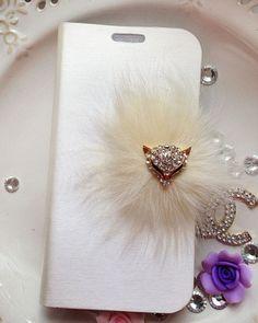 etui ZAMYKANE # FUR FOX #  Samsung/iPhone # HANDMADE