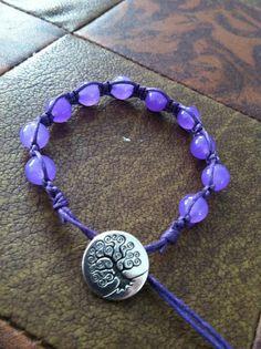 A Grade Amethyst Bracelet Macrame on Purple Cotton by Powerstone7, $25.00