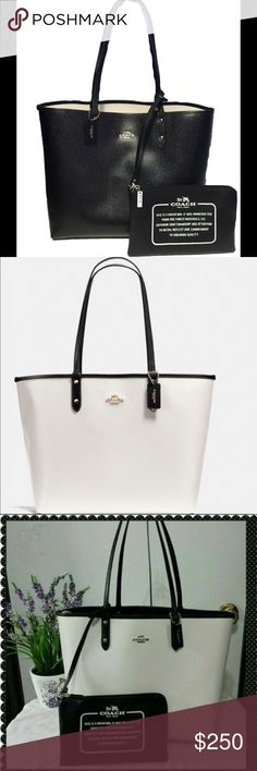 """COACH BLACK/WHITE REVERSIBLE CITY TOTE COACH BLACK/WHITE REVERSIBLE CITY TOTE with FREE Wristlet! Coach tote in black reverses to white. Also comes with a good sized detachable wristlet (about 9 1/2"""" X 6)  that you can snap off if needed. This is a good sturdy tote made of thick coated canvas. The gold Coach logo is on both sides. A great transition choice depending on your style. Handles: 9 1/2"""" drop. Coach Bags Totes"""