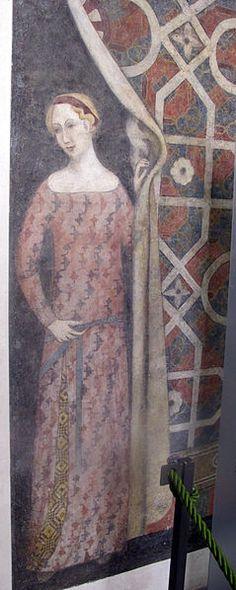 Affresco con donna che scosta un drappo, inizio del XV sec. - Museo Stefano Bardini - Firenze