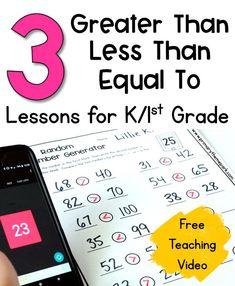Three Greater Than Less Than Lessons for Kindergarten and First Grade Math Classroom, Kindergarten Math, Teaching Math, Classroom Ideas, Number Sense Activities, Fun Math Activities, 1st Grade Math, First Grade, Math Fact Fluency