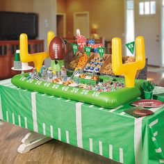 Football Snack Stadium Décor Idea - OrientalTrading.com