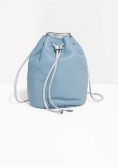 & Other Stories image 1 of Drawstring Leather Backpack in Light Blue
