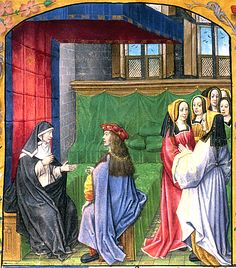 Héloise Instructs her Pupil. Illuminated by Master of the Prayer Books of around 1500. Bruges, c. 1483 and c. 1490.   Collection: London, the British Library, Royal Ms 16 F. ii, fol. 137.
