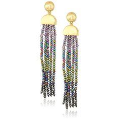 "Diane von Furstenberg ""Rainbow Rocks"" Faceted Bead Tassel Drop Earring ($98) ❤ liked on Polyvore featuring jewelry, earrings, rainbow jewelry, ball earrings, rock jewelry, tassel earrings and rock earrings"