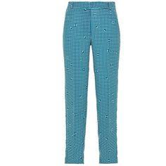 Pleated Slim Trousers | Moda Operandi (5.265 ARS) ❤ liked on Polyvore featuring pants, straight leg trousers, slim fit trousers, blue slim fit pants, blue trousers and slim fit pants
