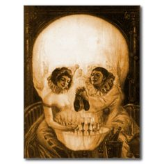 Vintage Victorian Kitsch Skull Optical Illusion, neat classic dual image optical illusion of a happy young partying couple or is it a illustration of a skull? It's a skull!