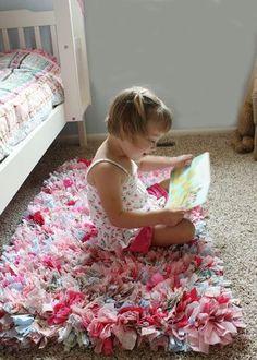 DIY Decorations for Girls Room - Rag Rug | Girls Bedroom Decor Ideas | Click for... - http://centophobe.com/diy-decorations-for-girls-room-rag-rug-girls-bedroom-decor-ideas-click-for/