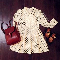 Polka Dots Peter Pan Collar Belted Dress : The Art of Vintage-inspired & Cute Women's Clothing | Larmoni