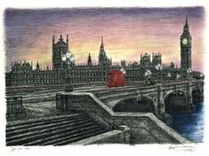 Houses of Parliament in the evening - Limited Edition of 100 - drawings and paintings by Stephen Wiltshire MBE