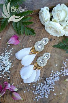 Soutache Earrings, Earrings Handmade, Women's Earrings, Handmade Jewelry, Wedding Earrings, Wedding Jewelry, Gold Wedding, Brooches, Feathers