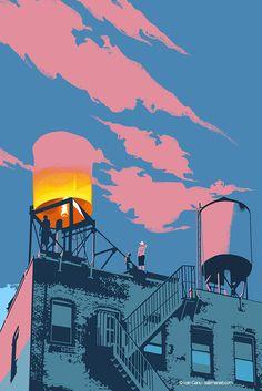 Airbag, cover and internal for Popshot magazine #editorial #cover #poetry #literature #illustration #city salzmanart.com
