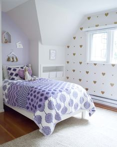 Gold Heart Wall Decals - adorable touch in a big girl room!