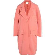 Issa Ray oversized wool-blend coat ($485) ❤ liked on Polyvore featuring outerwear, coats, pink, red coat, issa, wool blend coat, pink oversized coat and oversized coat