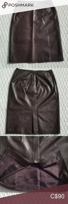 Danier Leather Pencil Skirt Danier Leather pencil skirt Excellent quality made garment Fully lined Deep back kick pleat Waist Hips Length from waist to bottom hem EUC Danier Leather Skirts Pencil Black Leather Pencil Skirt, Long Pencil Skirt, Blue Pencil Skirts, Faux Leather Skirt, Leather Skirts, Leather Dresses, Button Down Denim Skirt, Couture Skirts