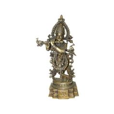 Lord Krishna Brass Statue Hindu God Krishna Playing Flute Yoga... ($299) via Polyvore