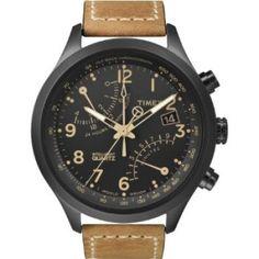 Relógio Timex Men's T2N700 Intelligent Quartz SL Series Fly-Back Chronograph Brown Leather Strap Watch #Relógio #Timex